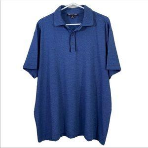 Michael Kors Polo Shirt Mens Sz XL Blue Pinstripe